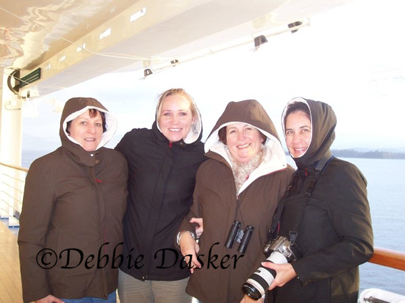 Carolyn, Jen, Lorraine, and Deb on ship's deck
